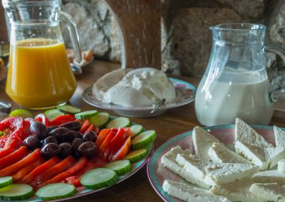 Breakfast with tomatoes and white cheeses from Epirus